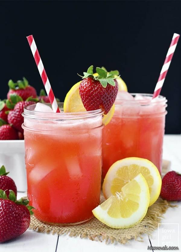 لیموناد توت فرنگی و هندوانه